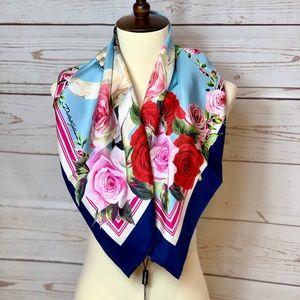 Dolce & Gabbana Accessories - NWT DOLCE & GABBANA Blue Roses & Dogs Silk Scarf